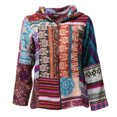 Patchwork Blanket Zip Up Hoodie