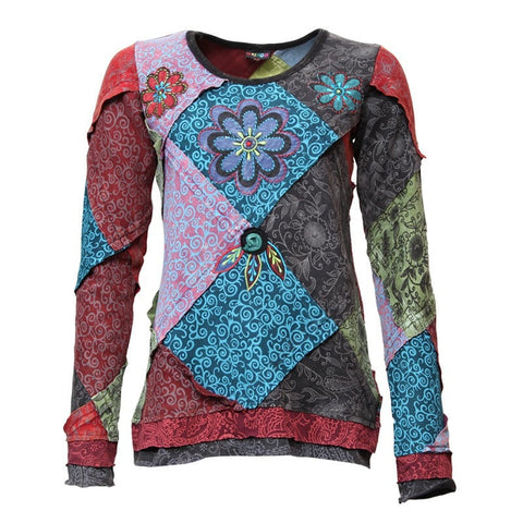 Patchwork & Applique Flower Long Sleeved Top