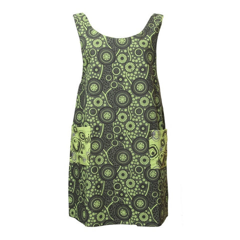Green Pinafore Dress with Pockets