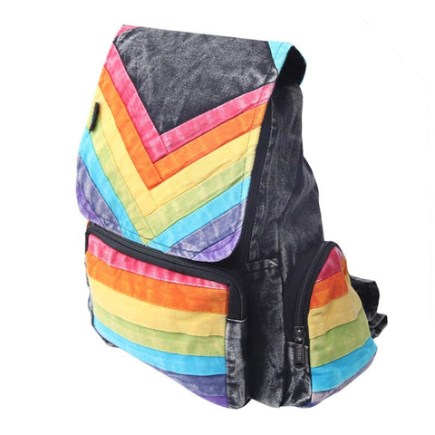 Men's Rainbow Chevron Cotton Backpack