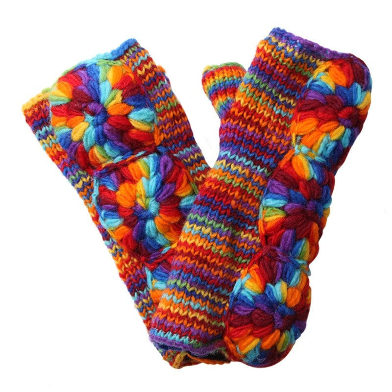 Rainbow Wool Wrist Warmers
