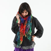 Textured Soft Check Rainbow Scarf