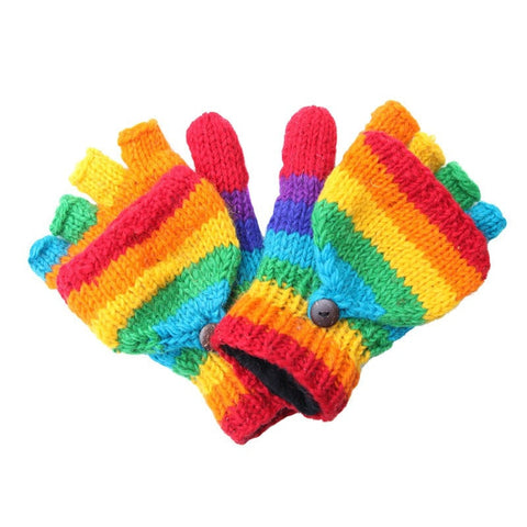 Men's Rainbow Fingerless Glove Mittens
