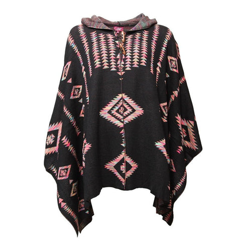 Neon Aztec Knit Hooded Cape