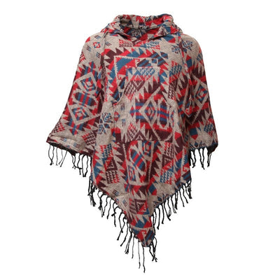 Patterned Blanket Diamond Poncho
