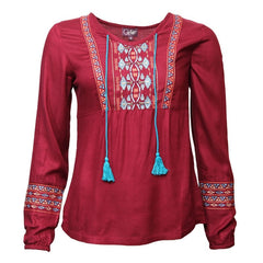 Embroidered Long Sleeve Smock Top