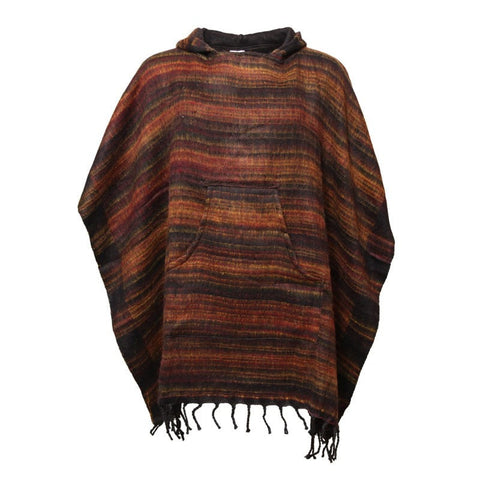 Warm Indian Hooded Poncho Brown