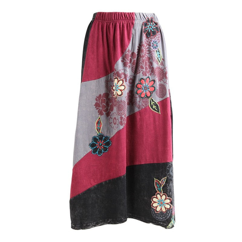 Flower Patch Jersey Midi Skirt