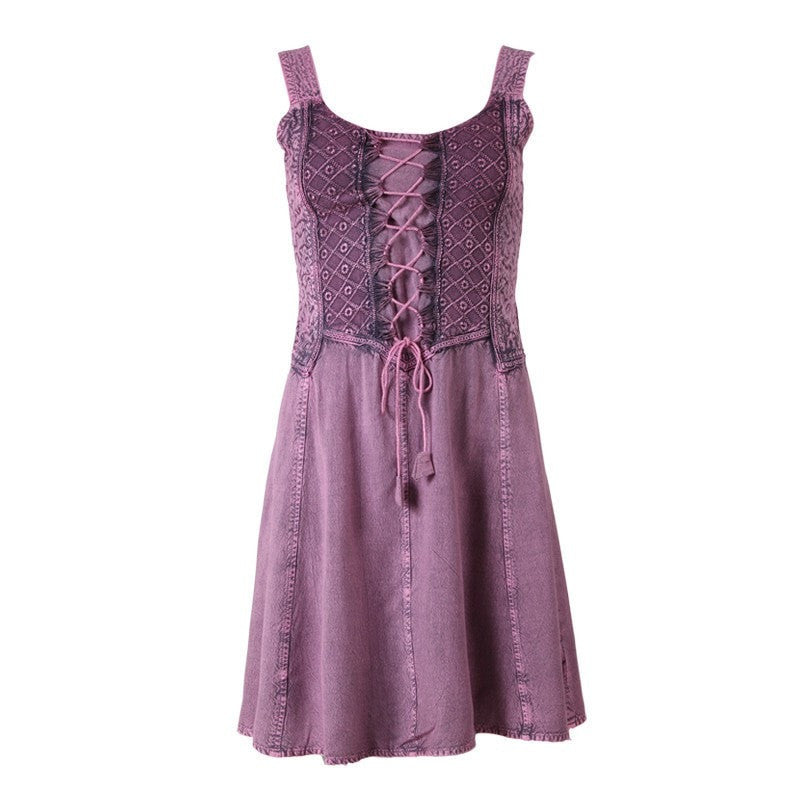 Pink Lace Up Front Skater Dress