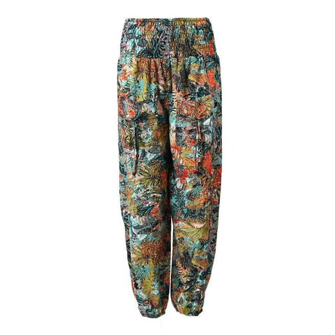 Jungle Leaf Print Shirred Harem Pants