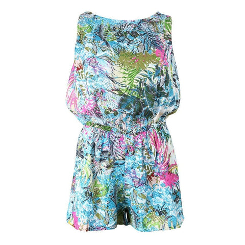 Tropical Leaf Print Keyhole Back Playsuit