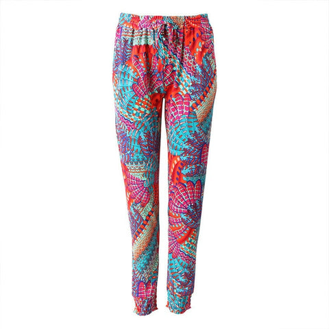 Paradise Feather Print Slim Joggers