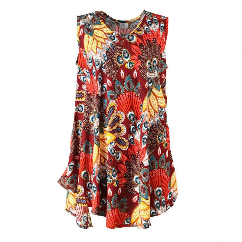Tropical Peacock Print Swing Dress