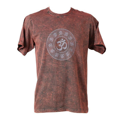Circle Om Print Acid Wash T-Shirt