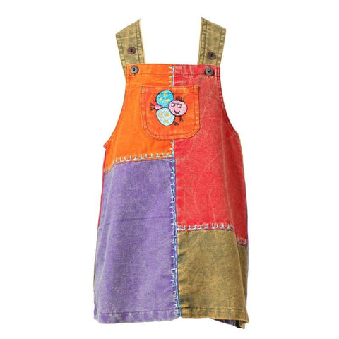 Girls Patchwork Dungarees Dress