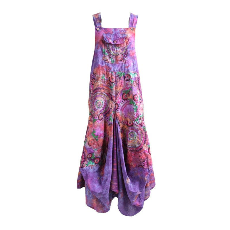 Tie Dye & Print Dungaree Drape Maxi Dress
