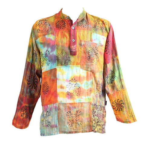 Tie Dyed & Print  Patchwork Collarless Shirt