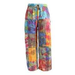 Tie Dyed & Print  Patchwork Relaxed Trousers