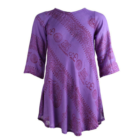 Om Print 3/4 Sleeve Smock Top