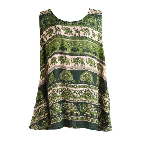 Green Flower & Elephant Print Mini Swing Dress