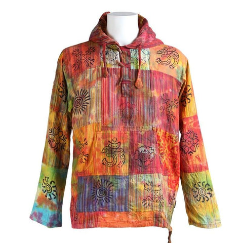 Tie Dyed & Print  Patchwork Hooded Shirt