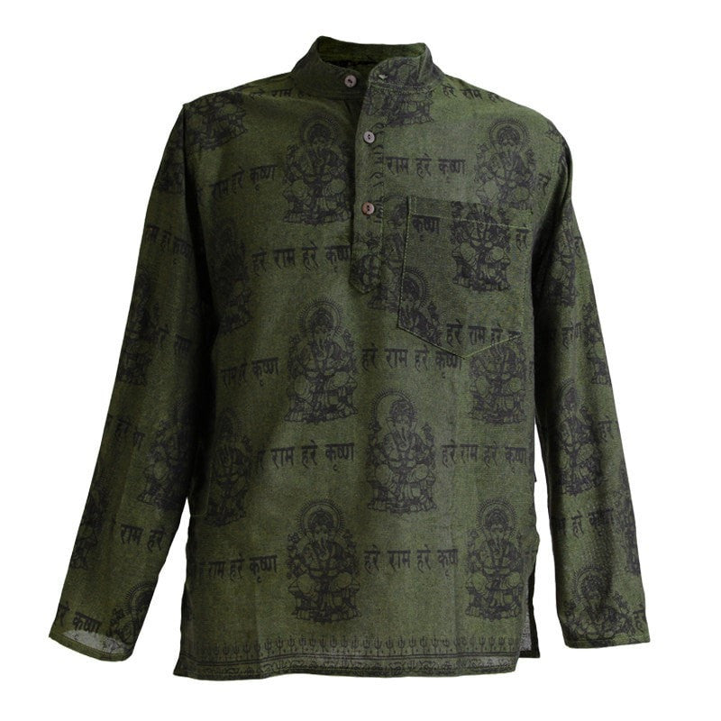 Ganesh Print Cotton Grandad Shirt