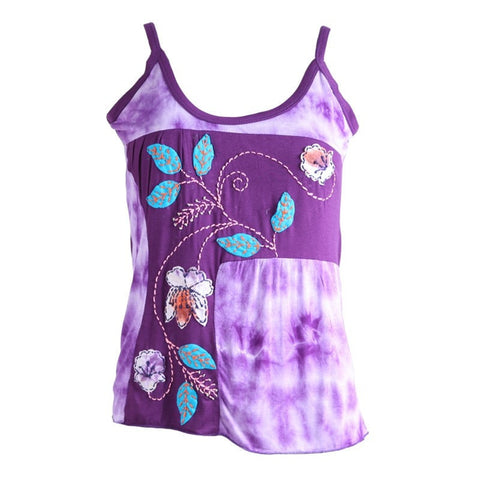 Tie Dye & Applique Flower Purple Vest Top