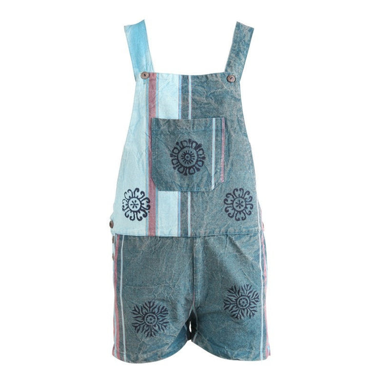 Blue Cotton Flower Print Dungaree Shorts