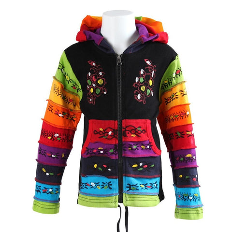 Kids Rainbow Ribbed & Hand Painted Hoodie