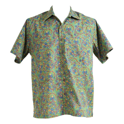 Green Floral Vines Short Sleeved Shirt