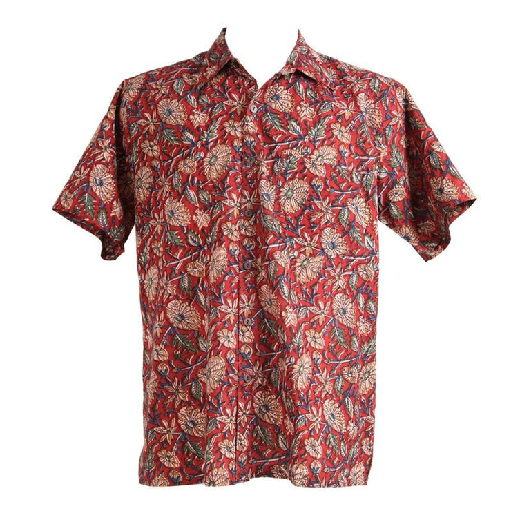 Natural Dye Pomegranate Short Sleeved Shirt