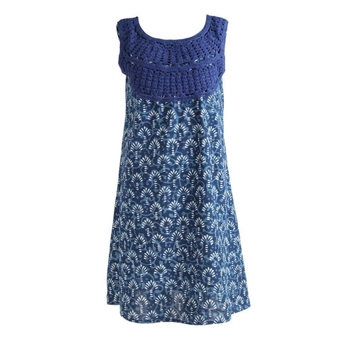 Indigo Batik Print Crochet Neck Dress