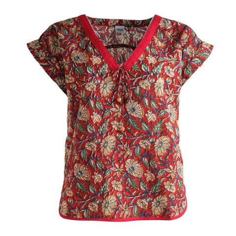 Red Flower Print V-Neck Cotton T-Shirt