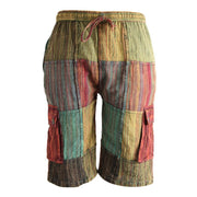 Patchwork Cotton Knee Length Cargo Shorts