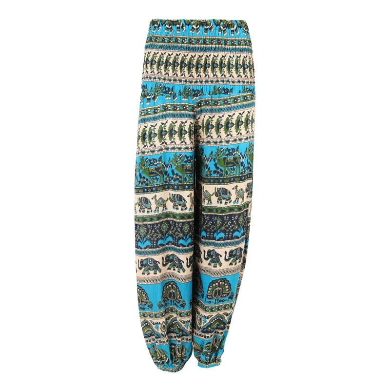 Flower & Elephant Print Harem Trousers