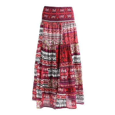 Maxi Skirt with Shirred Waist in Mixed Floral Print