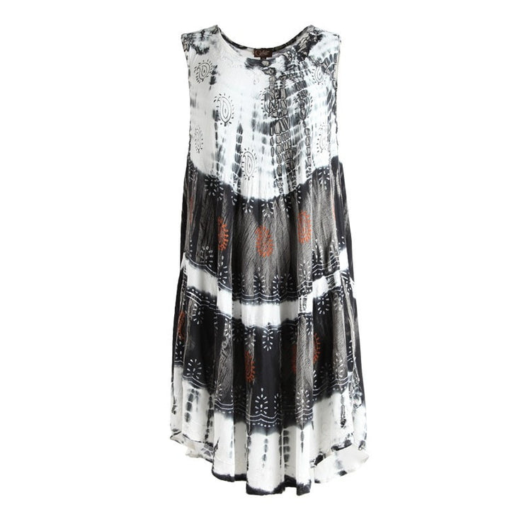 White & Black Tie Dye Beach Cover Up Dress
