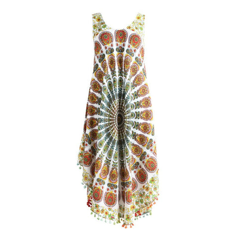 Pom Detail Beach Midi Dress