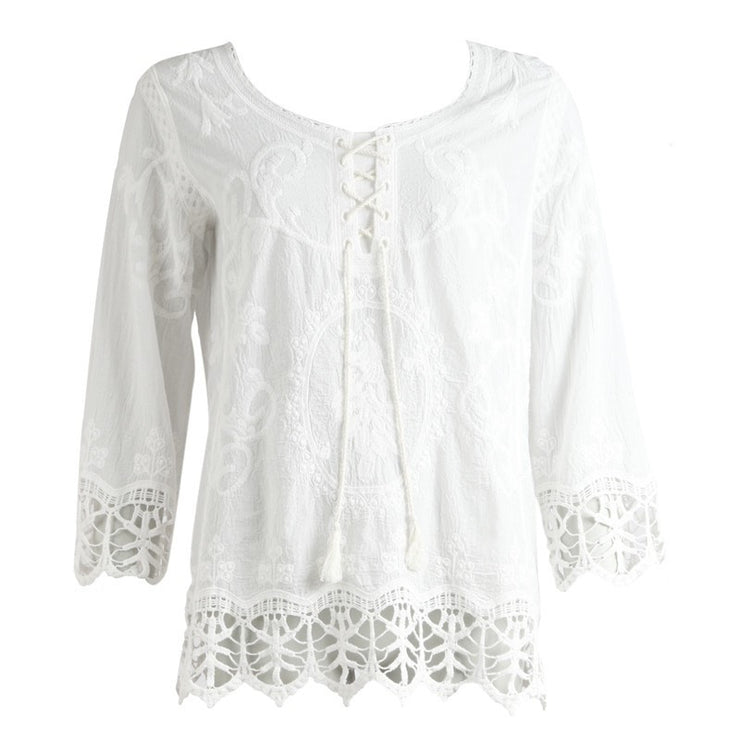 White 3/4 Sleeve Top With Lace Trim