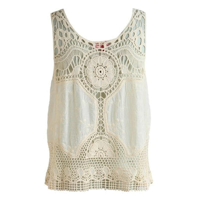 Crochet Lace Off White Sleeveless Top