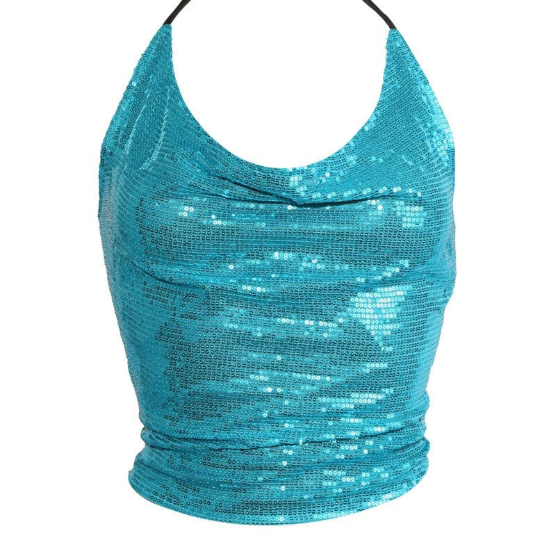 Sequin Crop Top With Tie Back
