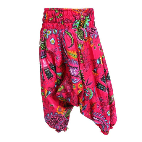 Pink Tropical Print Kids Harem Pants