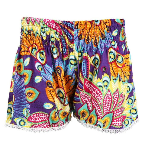 Tropical Peacock Print Shorts