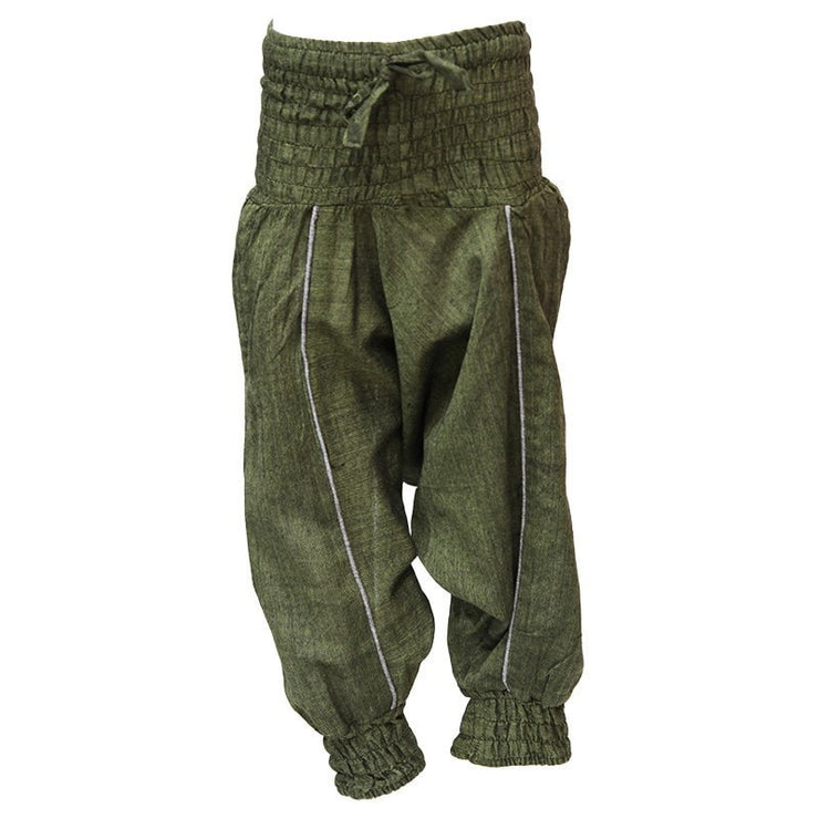 Kids Plain Harem Pants, Green