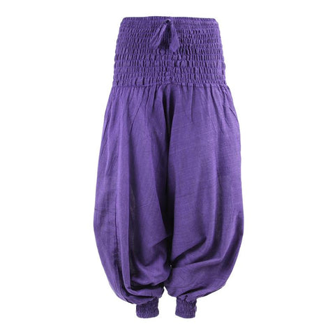 Plain Drop Crotch Harem Pants