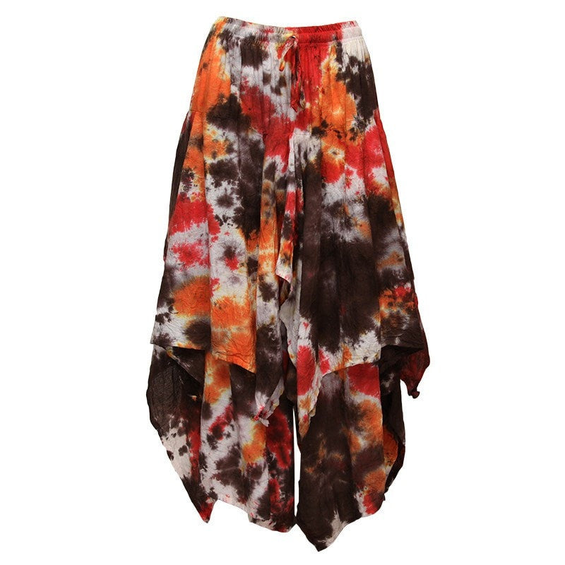 Layered Cotton Tie Dye Skirt