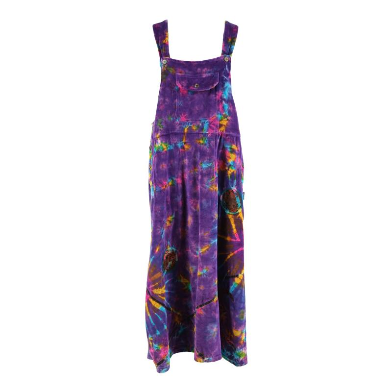 Tie Dye Velvet Maxi Pinafore Dress