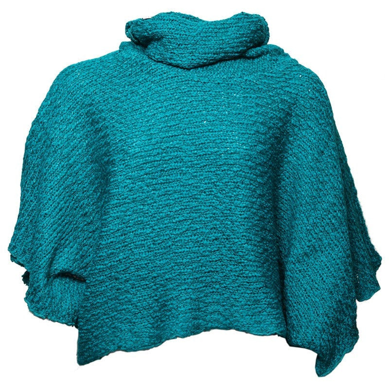 Knitted High Roll Neck Poncho