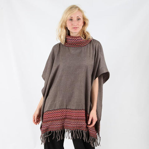 high neck brushed poncho