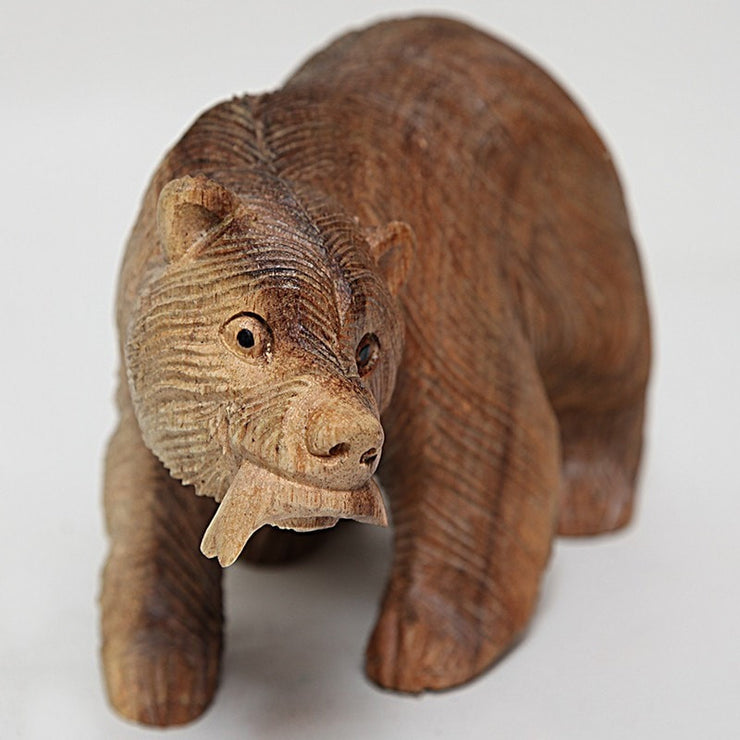 Wooden Bear with Fish